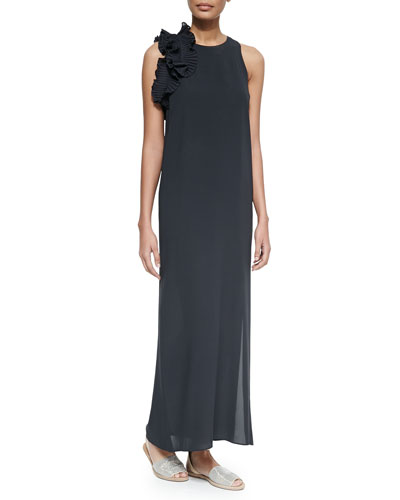 Silk Crepe Gown w/Plisse Ruffle, Volcano