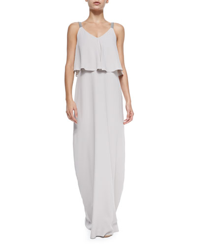 Brunello Cucinelli Strapped Gown W/ Ruffled Popover