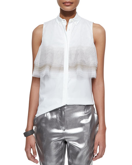 Brunello Cucinelli Layered Tulle-Detailed Poplin Blouse, White/Peanut