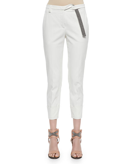 Wide-Cuffed Monili-Belt Pants, White