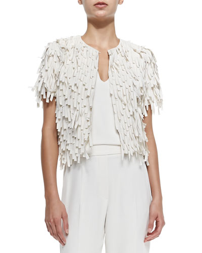 Brunello Cucinelli Short-Sleeve Silk Fringe Jacket
