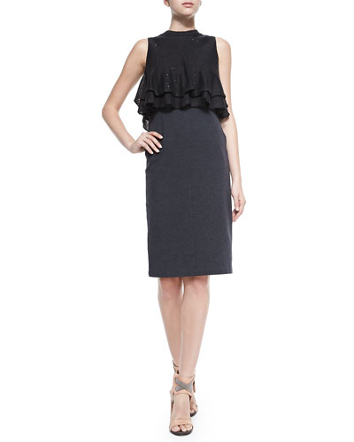 Brunello Cucinelli Sleeveless Dress W/ Ruffled Popover