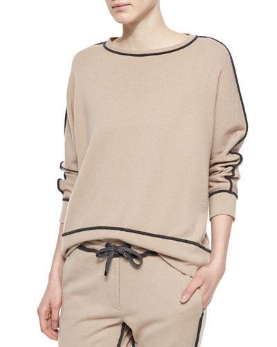 Cashmere Contrast-Piped Sweatshirt, Peanut