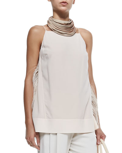 Strapped Tank W/ Ostrich Feather Sides
