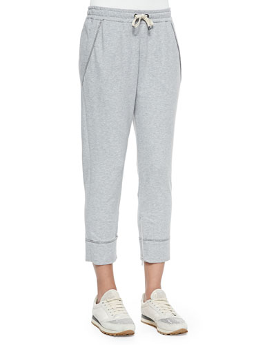 Shimmer-Trimmed French Terry Sweatpants, Pearl