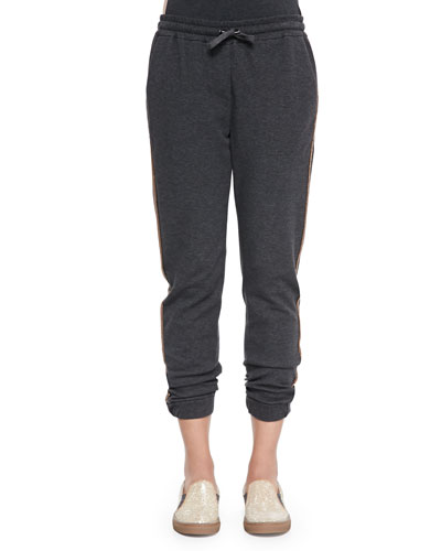 Jersey Shimmer-Trimmed Sweatpants, Volcano