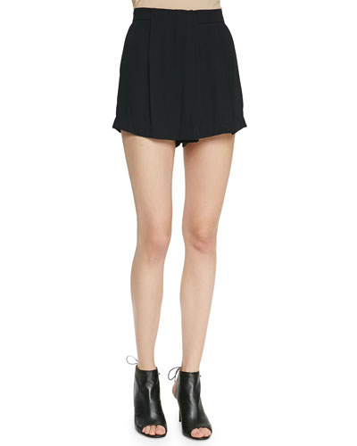 Dello Pleated High-Waist Shorts