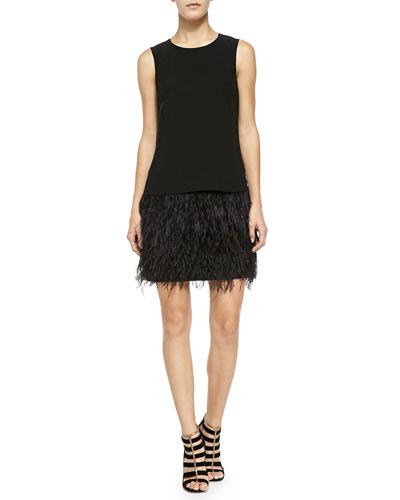 Tibi Cera Tuxedo Dress W/ Feather Hem
