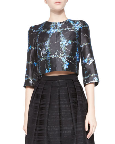 Tibi Windowpane Flowers Cropped Top