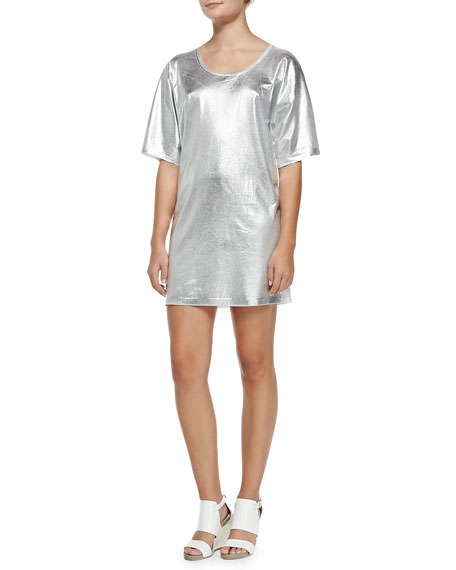 McQ Alexander McQueen Short-Sleeve Silver Foil T-Shirt Dress, Optic White