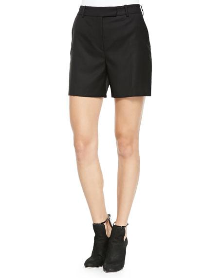 McQ Alexander McQueen Wool Tuxedo Shorts, Black