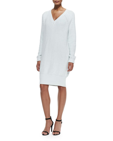 McQ Alexander McQueen Ribbed Lightweight Sweaterdress, Chrysanthemum
