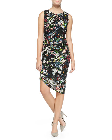 McQ Alexander McQueen Smocked/Ruched Festival Floral Georgette