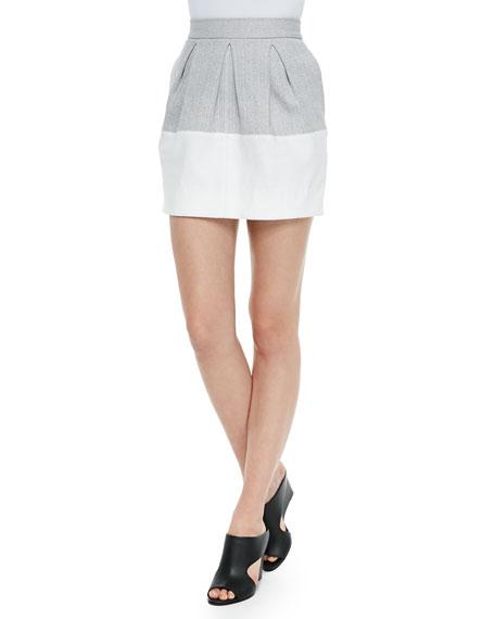 Three-Pleat Colorblocked Mini Skirt