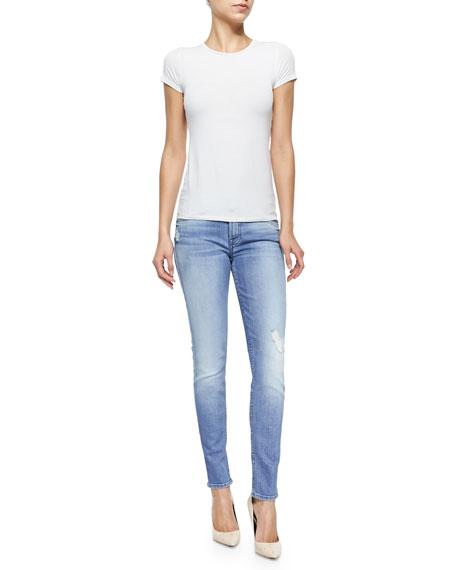 Distressed Faded Skinny Ankle Jeans, Striking Indigo