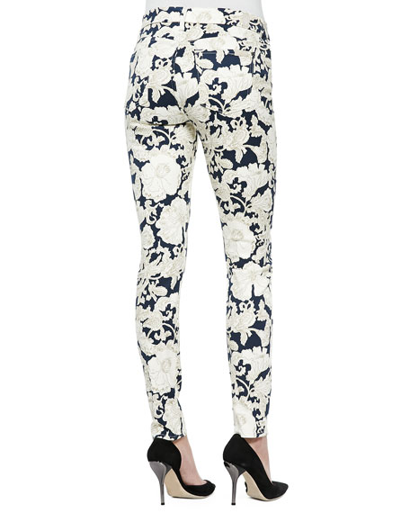 Floral-Print Skinny Ankle Jeans