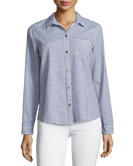 Current/Elliott The Slim Boy Shirt, Misty Stripe
