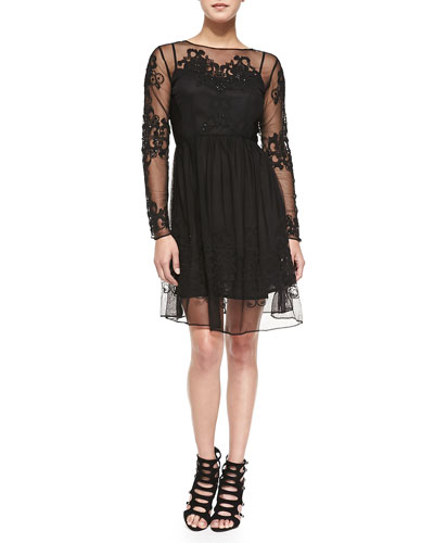 French Connection Maddison Floral-Embroidered Mesh Dress, Black