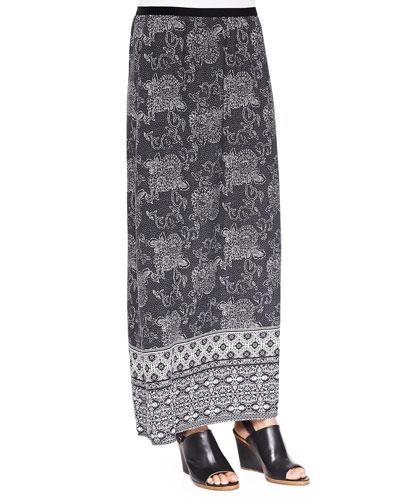 Silk Printed Long Skirt, Women's