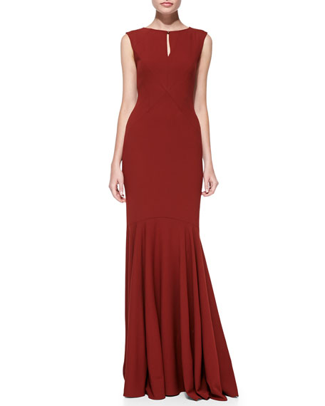 Sleeveless Mermaid Keyhole Gown