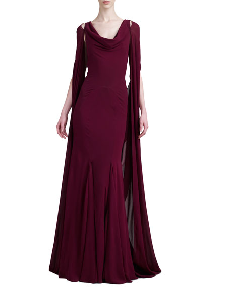 Pleated Cape-Back Gown, Deep Raspberry