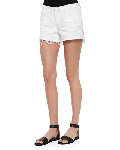 Fringed Cutoff Denim Shorts, White Light