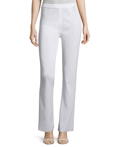 Boot-Cut Knit Pants, White, Women