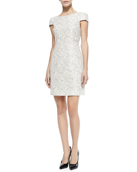 4.collective Cap-Sleeve Fitted Floral Lace Dress