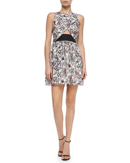 Thakoon Addition Scroll-Print Dress W/ CrissCross Front