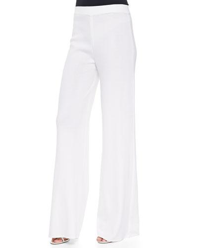 Washable Wide-Leg Pants, White, Petite