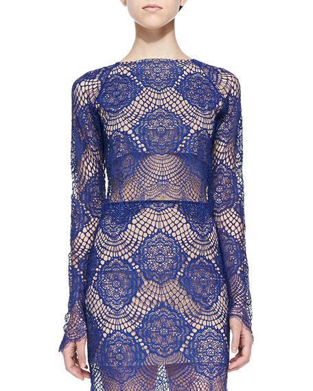 Grace Long-Sleeve Lace Crop Top, Sapphire