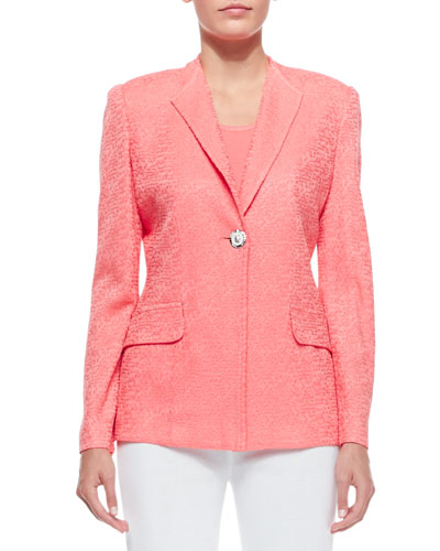 One-Button Jacket, Coral, Women's