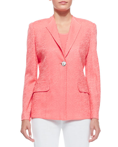 One-Button Jacket, Coral, Plus Size