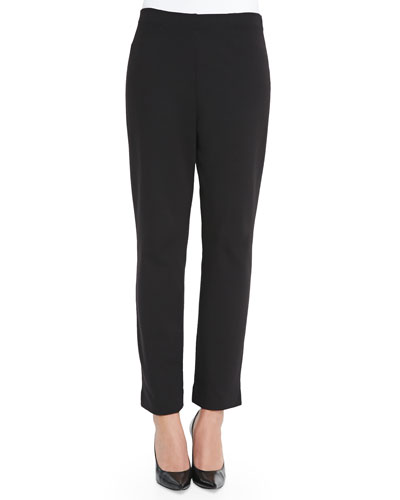 Slim Ponte Ankle Pants, Black, Women's