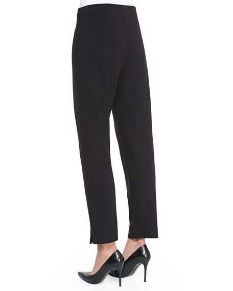 Slim Ponte Ankle Pants, Black
