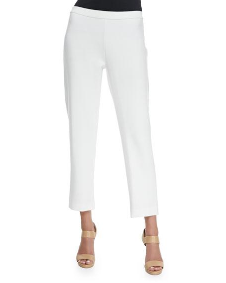 Ponte Slim Ankle Pants, White, Petite