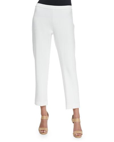Ponte Slim Ankle Pants, White