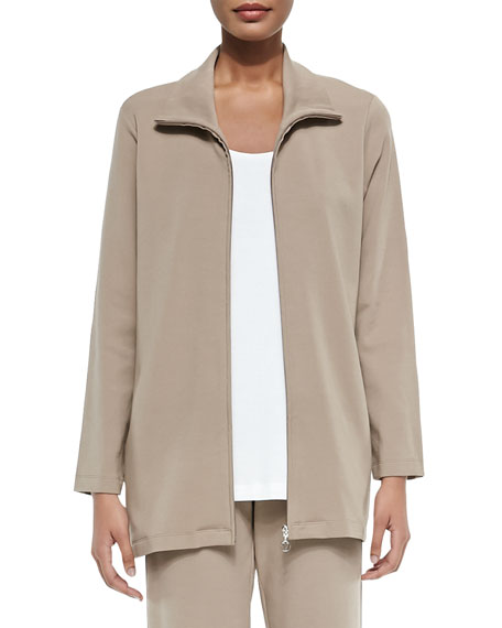 Joan Vass Long Knit Zip Jacket