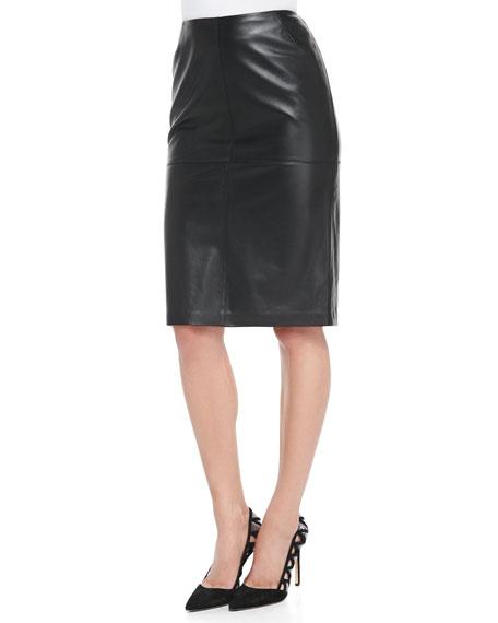 lafayette 148 new york slim lambskin leather pencil skirt