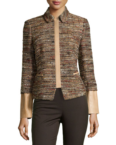 Orah Tweed Jacket with Leather Detail