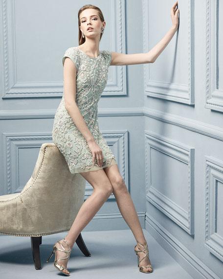 Short-Sleeve Beaded Mesh Cocktail Dress