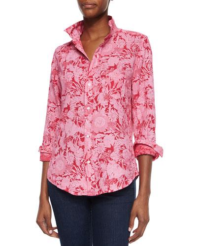 Floral-Print Linen Blouse