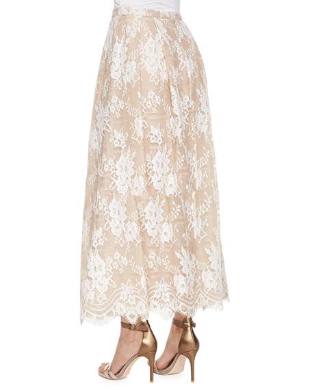 Lace Beaded Tea-Length Skirt