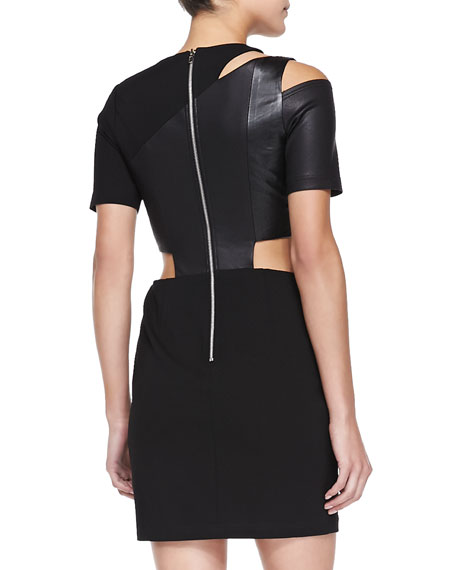 Susina Short-Sleeve Dress W/ Faux Leather Panels