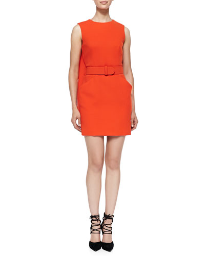 McQ Alexander McQueen Belted Dress with Cape Back, Orange
