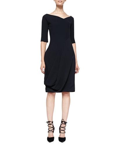 McQ Alexander McQueen 3/4-Sleeve Dress with V'd Neck & Bubble Skirt, Black