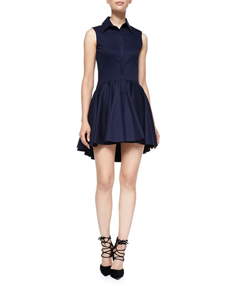 Sleeveless Shirtdress with A-line Skirt, Navy