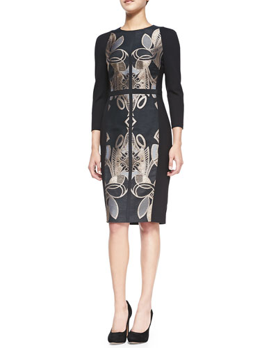 Tasiele 3/4-Sleeve Dress W/ Brocade Front