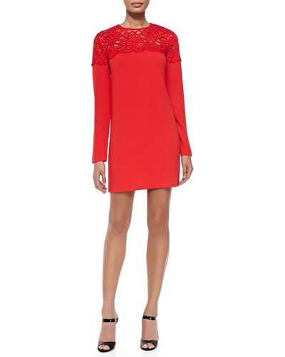 Long-Sleeve Lace-Yoke Shift Dress