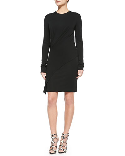 Long-Sleeve Asymmetric Jersey Dress